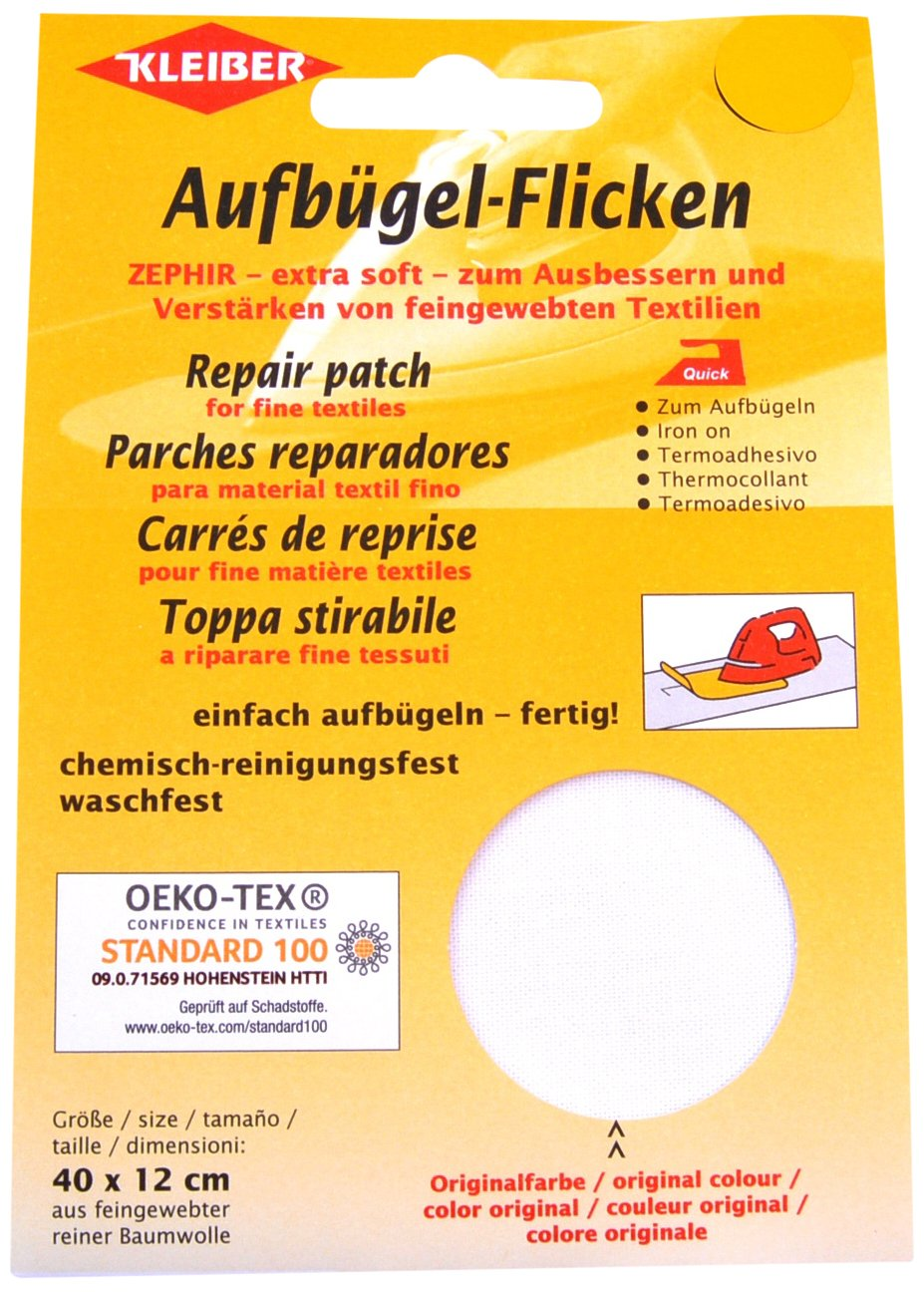 Kleiber 40 x 12 cm Extra Soft Cotton Iron-On Repair Patch, White by Kleiber   B0074OC8V4