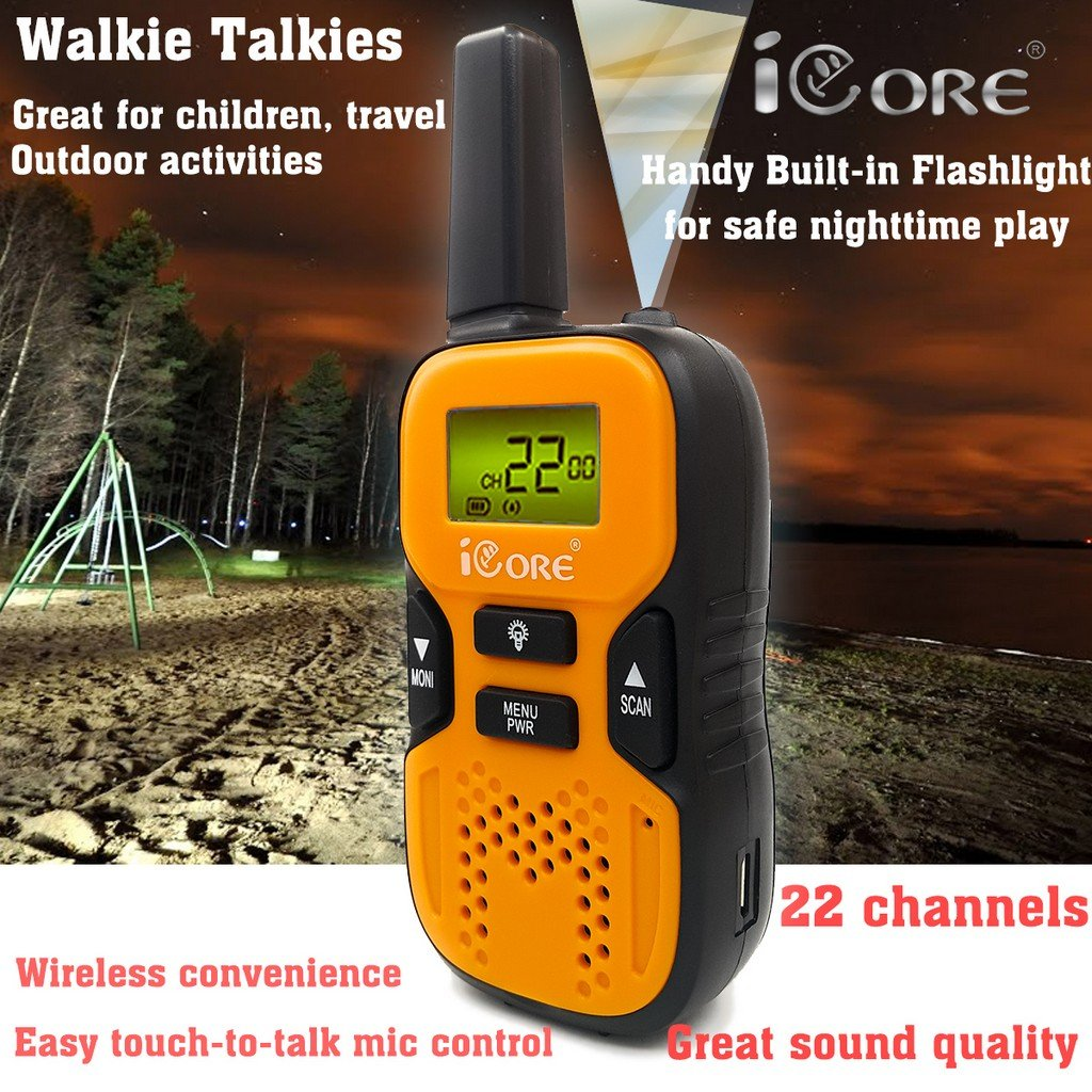 iCore Walkie Talkies for Kids, Long Range Walkie Talkie with 2 Way Radios (Pair), 22 Channel Walky Talk Rechargeable, Built-in Flash Light for Girls Boys Toys Age 6 7 Year Old Up (Orange) by iCore (Image #5)