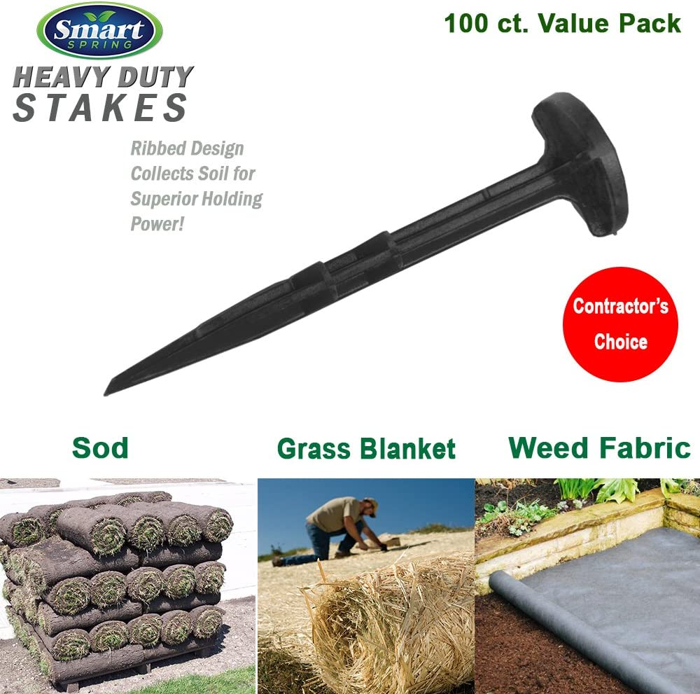 Heavy Duty Garden Stakes Circle Top for Weed Fabric, Sod, Erosion Blanket, Landscape Fabric, Safer than Steel Sod Staples (100)