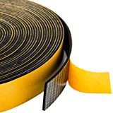 Foam Strips Adhesive 1 Inch Wide X 1/16 Inch Thick, 1.5mm Close Cell Foam Rubber Weather Stripping Tape Seal for Doors Insula