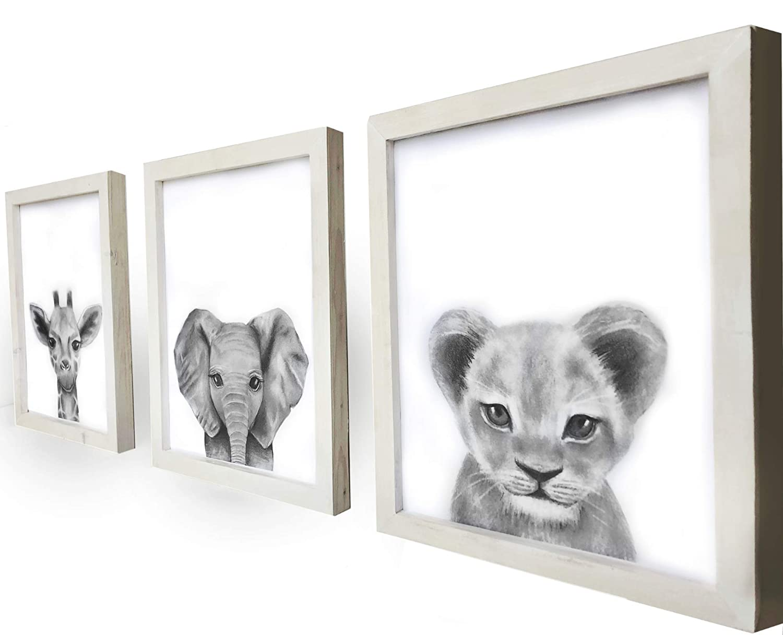 Set of 3 Framed Baby Woodland Safari Animal Rustic Nursery Decor Safari Unframed, 8x10