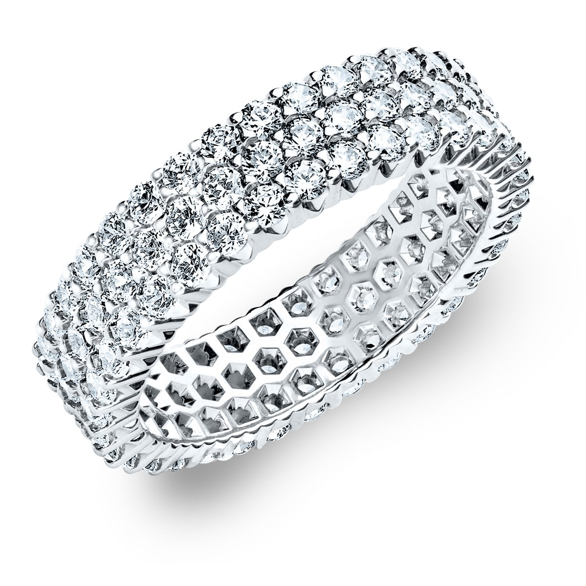 14K White Gold Diamond 3-Row Eternity Ring (1.5 cttw, G-H Color, SI1-SI2 Clarity) Size 6.5
