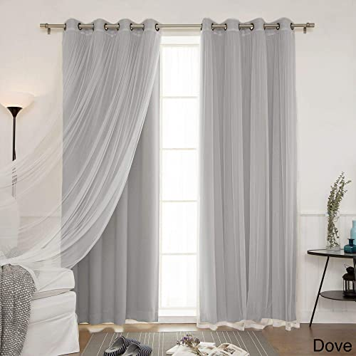 Aurora Home Mix and Match Blackout Blackout Curtains Panel Set 4-Piece Dove 52″ x 84″ 84 Inche