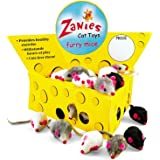 Zanies Cheese Wedge Display Boxes, 60 Furry Mice Toys for Cats