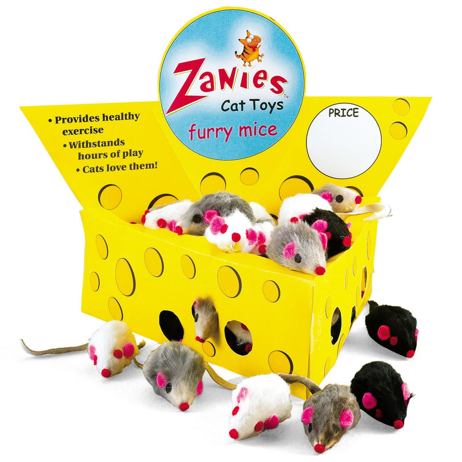 Pet Edge Zanies Cheese Wedge Display Box with 60 Furry Mice Toys for Cats - Mouse Measures 3'' in Length Including Tail