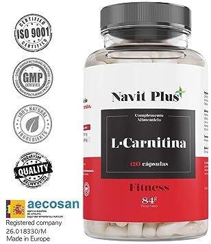 L CARNITINA-Navit Plus. Complemento alimenticio natural para la pérdida de peso y potente quemador de grasa deportivo. Gana mayor aporte de energía y ...