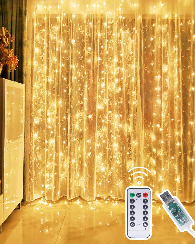 Kolpop Cortina de Luces, 3m x 3m 300 LED Luces Cortina, Cortina Luces Navidad Luz de Cortina USB, Cortina LED Luces Decoración de Navidad, Festival, Fiestas, Casa, Jardín, Boda(Blanco Cálido)