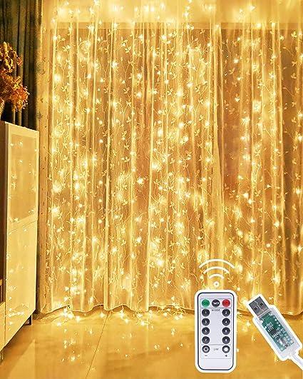 Ambiance pour D/écoration No/ël Mariage 8 Modes d/éclairage Chambre Terrasse Balcon Fen/être Guirlande Lumineuse Rideau prise USB 300 LED 3M*3M Rideau Lumineux Anniversaire avec Clips d/écoratifs