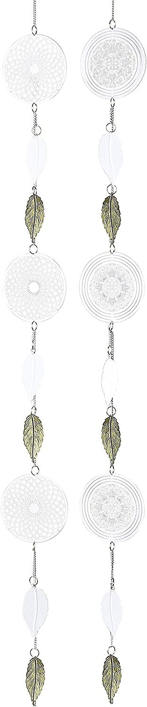 Wunschmodell:Links Unbekannt 1 x Girlande Traumf/änger Mandala mit Bl/ättern Edelstahl wei/ß Gold Deko Kreise Deckenh/änger 120 cm