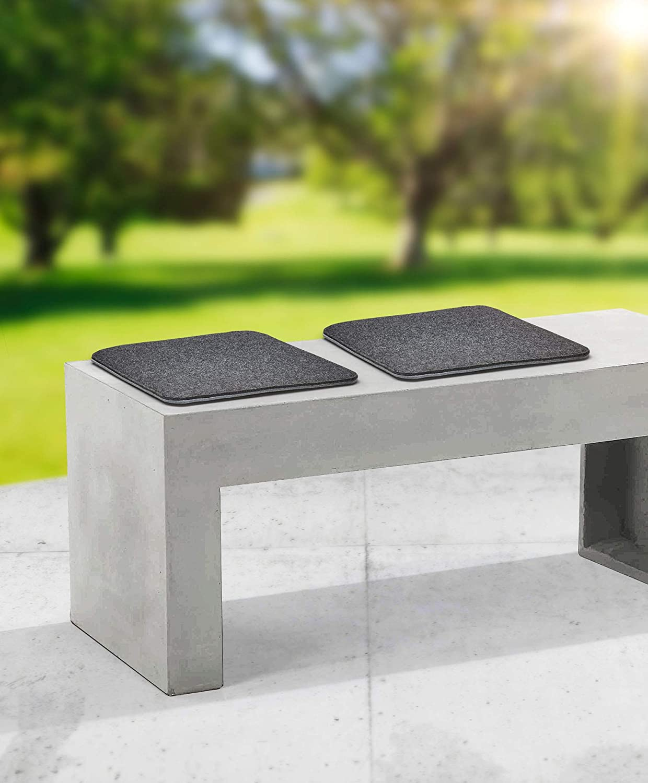Gartenfreude Home 4er Set Sitzkissen Filz zum Wenden 35 x 35 cm hellgrau dunkelgrau