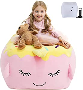 Stuffed Animal Storage Bean Bag Chair,Large Size Plush Organization for Kids Teen Girls (with Pad)
