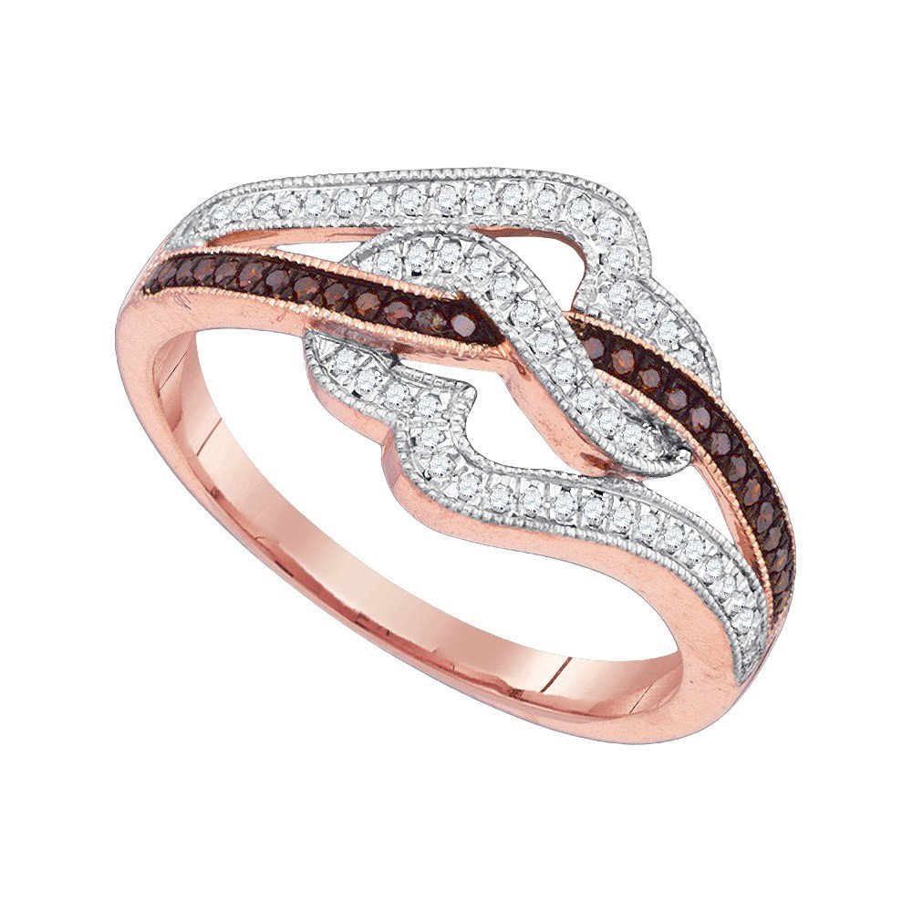 10k Pink Rose Gold Red Colored Diamond Womens Unique Cocktail Heart Band Ring 1/4 Cttw (I2-I3 clarity; Red color)