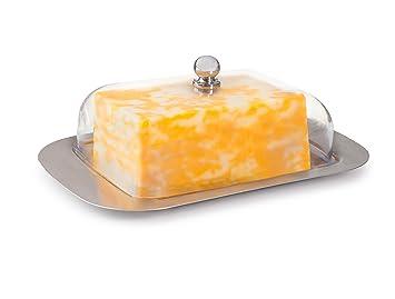 KUKPO - Bandeja para mantequilla de acero inoxidable y cubierta de plástico resistente, diseño elegante