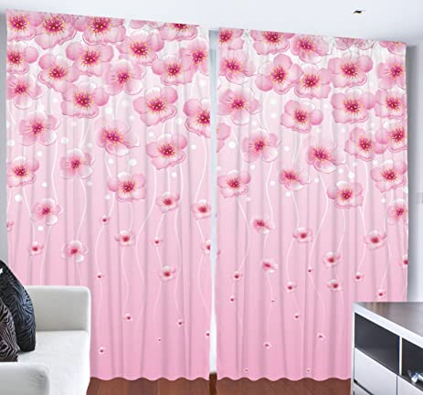 Amazon.com: Floral Curtains for Girls Room Home Decor by Ambesonne ...