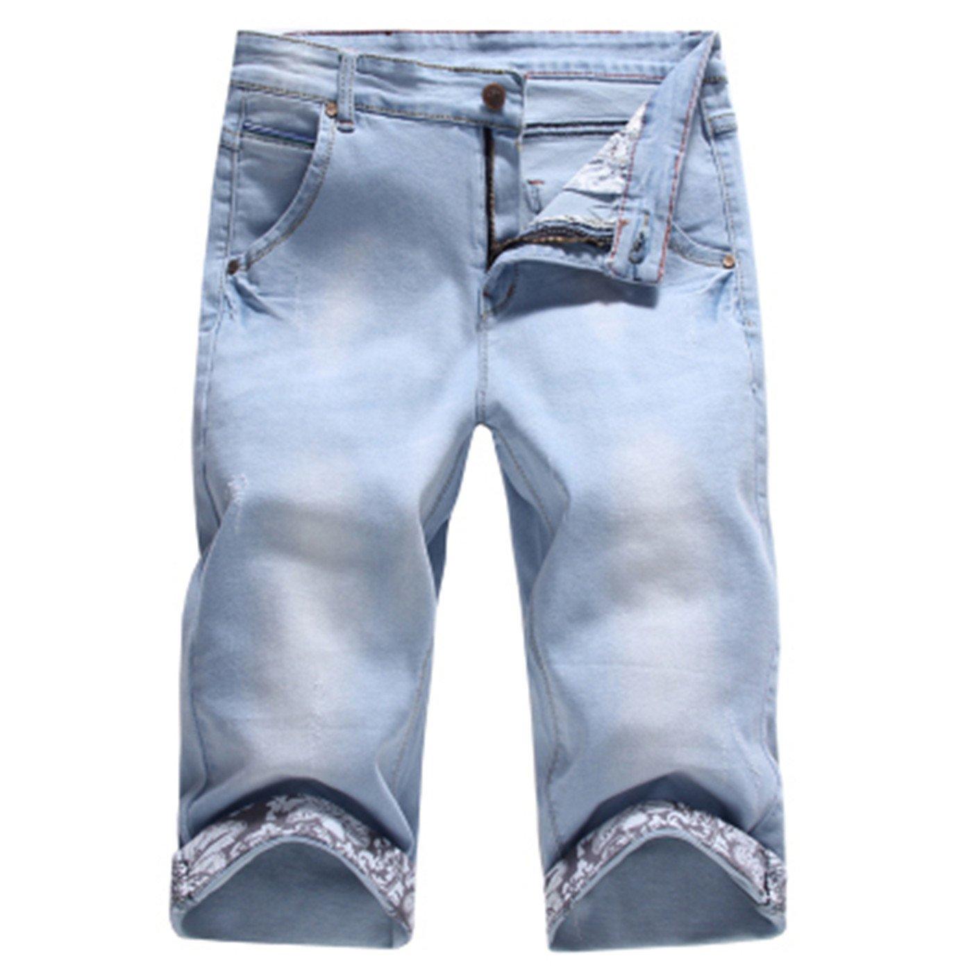 2018 Summer New Casual Solid Slim Cotton Shorts Men Jeans Blue Shorts Fashion Male Denim Clothing Pl