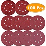 Paxcoo 100 Pcs 5 inch 8 Holes Sanding Discs 40/60/80/100/120/180/240/320/400/800 Grit Hoop and Loop Sandpaper for Random Orbital Sander