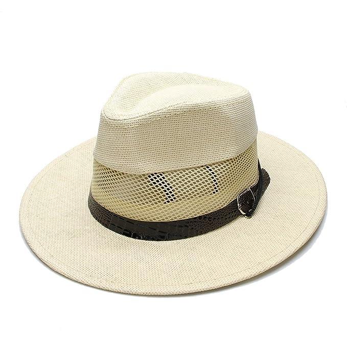 d123307a442 Women s Men s Unisex s Summer Straw Wide Brim Beach Panama Sun Fedora Hat  Hollow Out Mesh Snake Skin at Amazon Women s Clothing store