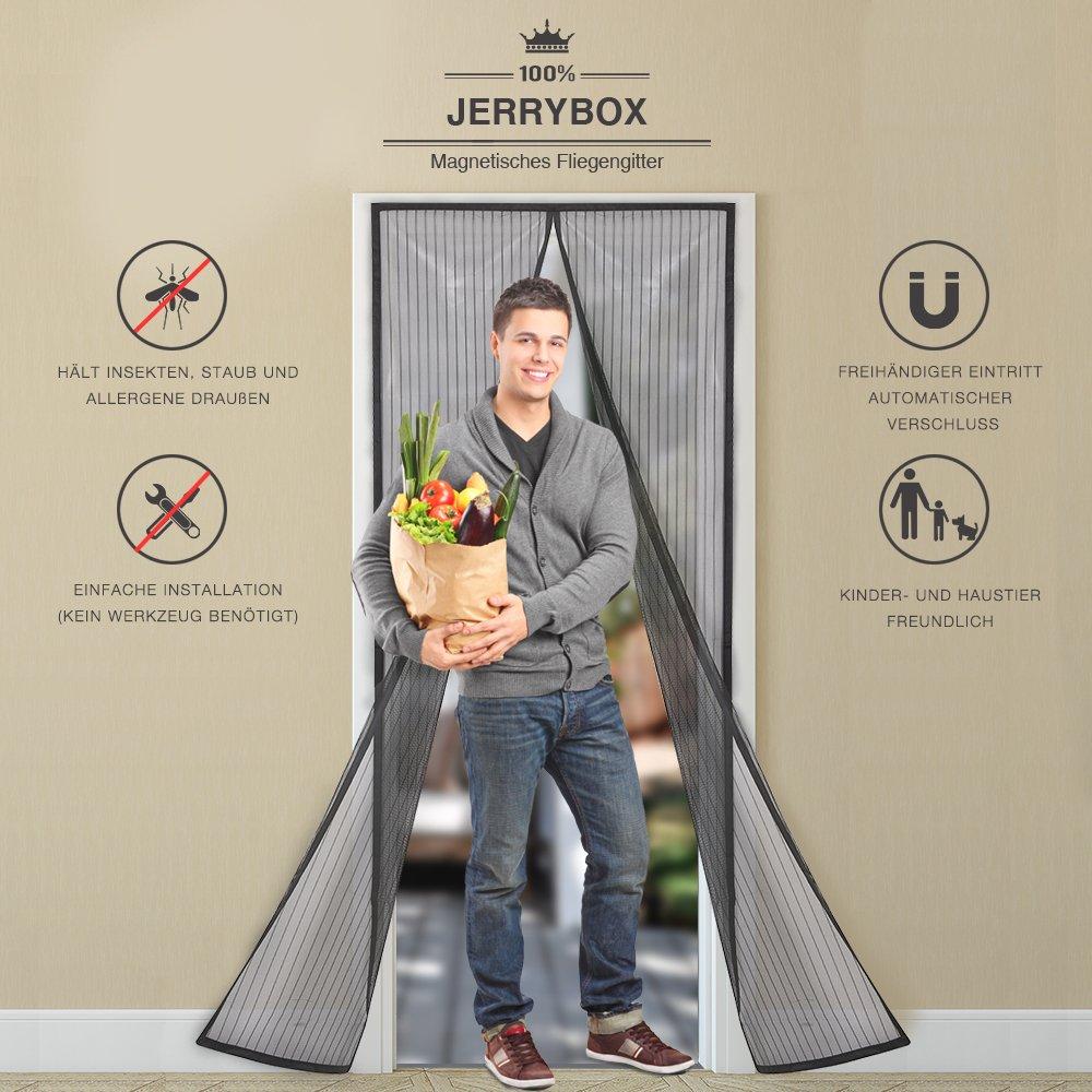 Rideau de Porte Antimoustique Parfait pour des Ouvertures pour Couloirs Patio Portes Jerrybox Moustiquaire sur Mesure de Porte 110cm x 220xm Magn/étique