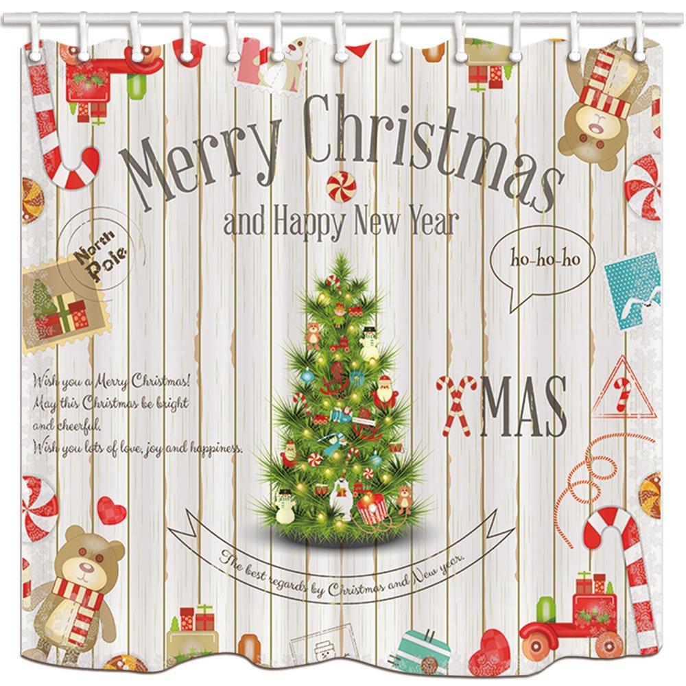 KOTOM Wasserdichte Duschvorhang, Weihnachtsbaum Birra Candy Cane ...