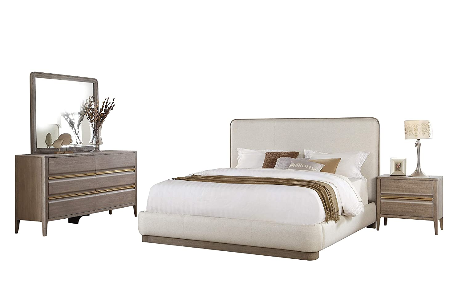 Amazon.com: Alicante Mid Century Modern 4PC Bedroom Set Cal ...