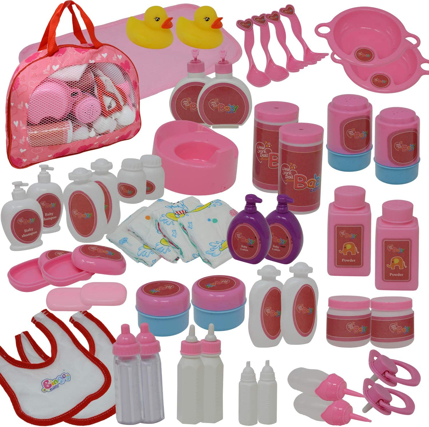 50Piece Baby Doll Feeding & Caring Accessory Set in Zippered Carrying Case - Accessories for Dolls