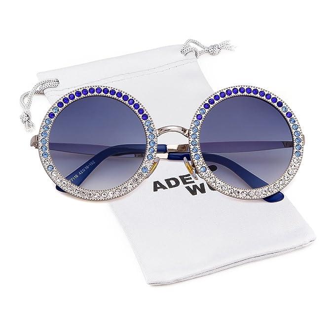 a3c03f4239d7b Amazon.com  Round Rhinestone Sunglasses Women Metal Frame With ...