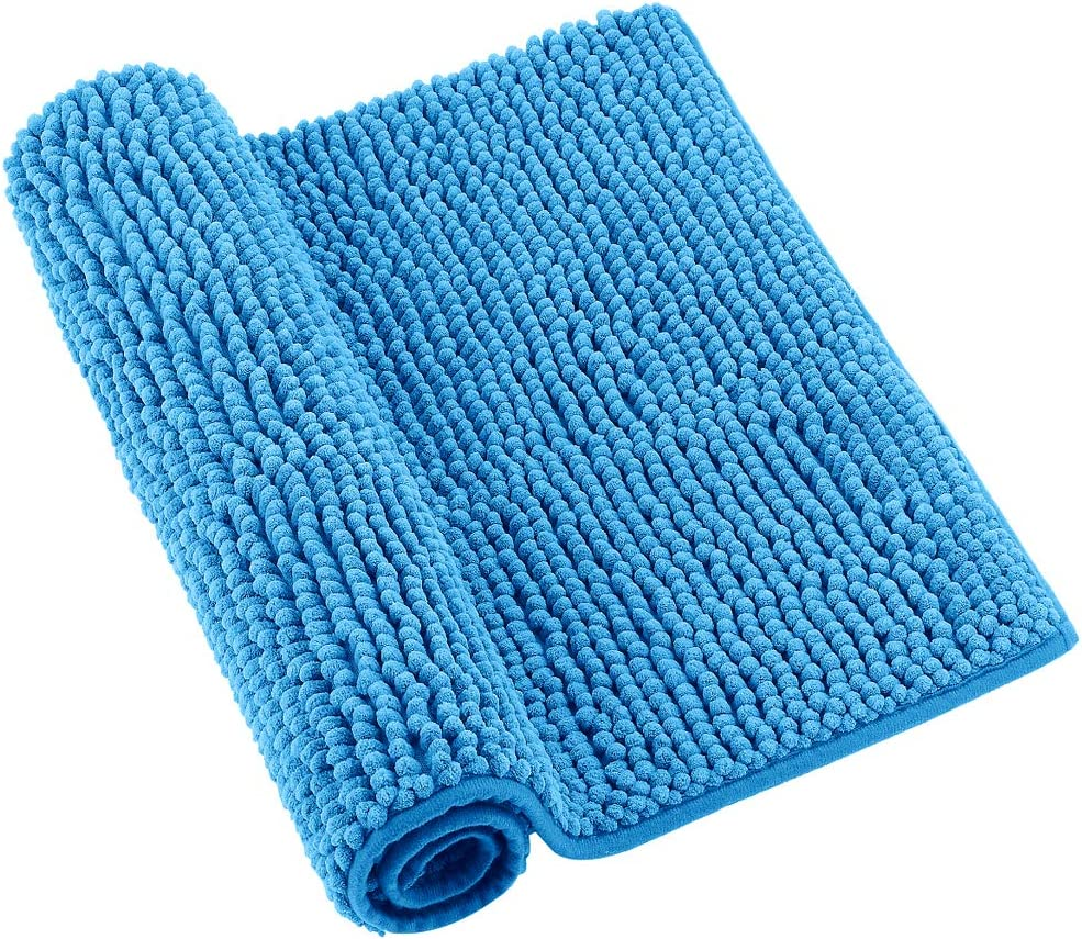 super assorbenti Mingfuxin tappetino WC per vasca da bagno set di 2 tappetini da bagno in ciniglia antiscivolo blu lago blu morbidi tappeti da doccia