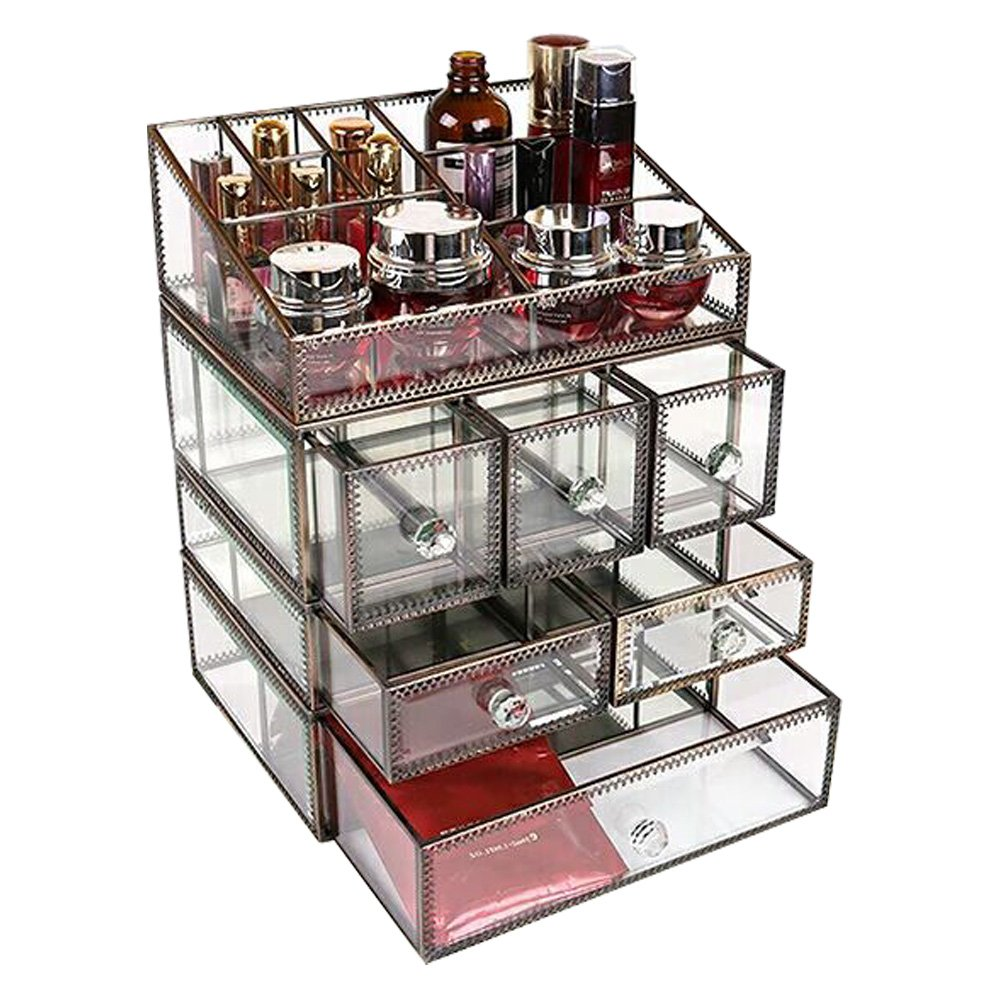 Hersoo Large Antique Mirror Glass Makeup Organizer Jewelry &Cosmetic Display, Stackable Dresser Storage for Vanity with Lid Dustproof Beauty Accent Home Decorative Box (drawerset-br) by Hersoo (Image #4)