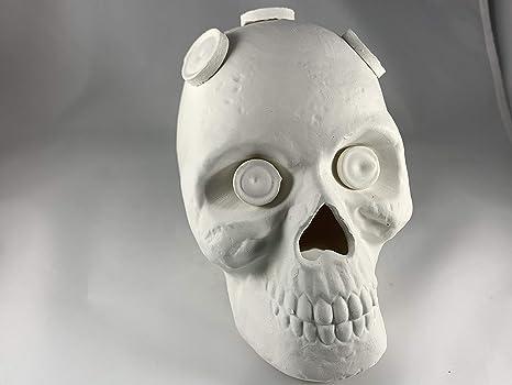 Large Ceramic Skull Frag Holder w// 7 Plugs Frag Station Includes 7 Plugs