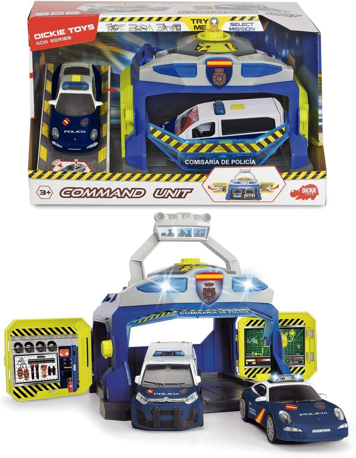 Dickie- Policía Nacional Playset Comisaría con Dos vehículos 17cm ...