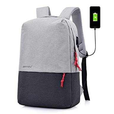 742bf8118031 Canvas backpack men and women polyester computer backpack USB interface  charging large capacity leisure travel bag
