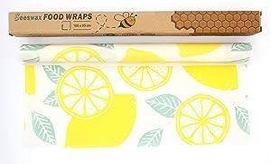 "Reusable Beeswax Food Wrap Roll, 13""x 39"" Eco Friendly Washable Beeswax Wrap Roll, Organic Sustainable Plastic Free Food Storage (Lemon Pattern)"
