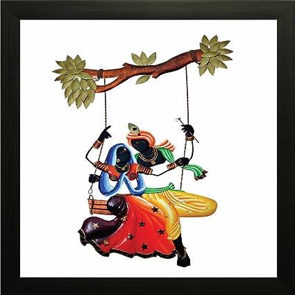 Printelligent Radha And Krishna Swing On Tree Wall Painting Frame 10 Inch X 10 Inch