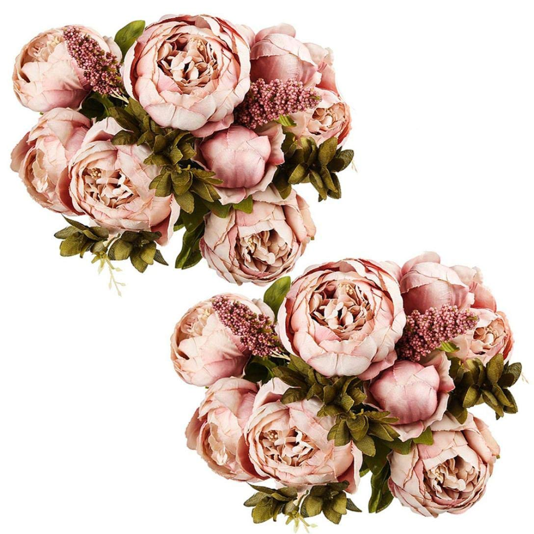Artificial Flowers, MaxFox Fake Peony Silk Bouquet 2 Rose Flower Bouquets Home Office Wedding Party Decor (A)