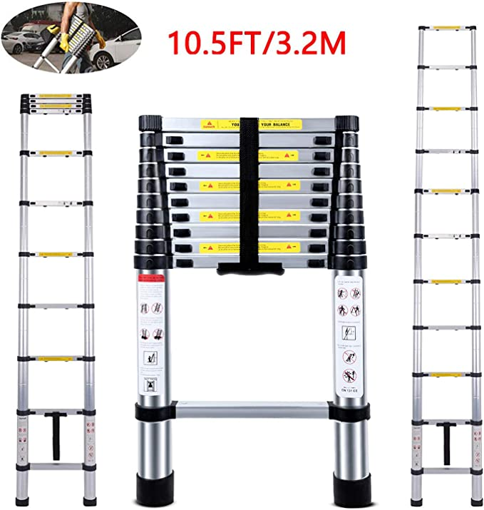 Escalera telescópica de 3,8 m EN131, alargador Jasón de aluminio de alta calidad, carga máxima de 150 kg, para hogar o aire libre: Amazon.es: Bricolaje y herramientas