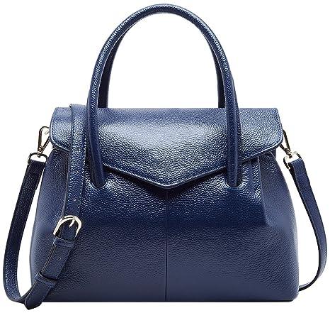 8740cafaec6d8 BOYATU Damen Handtaschen aus Leder Stilvoller Top Handle Beutel  Einkaufstasche Blau