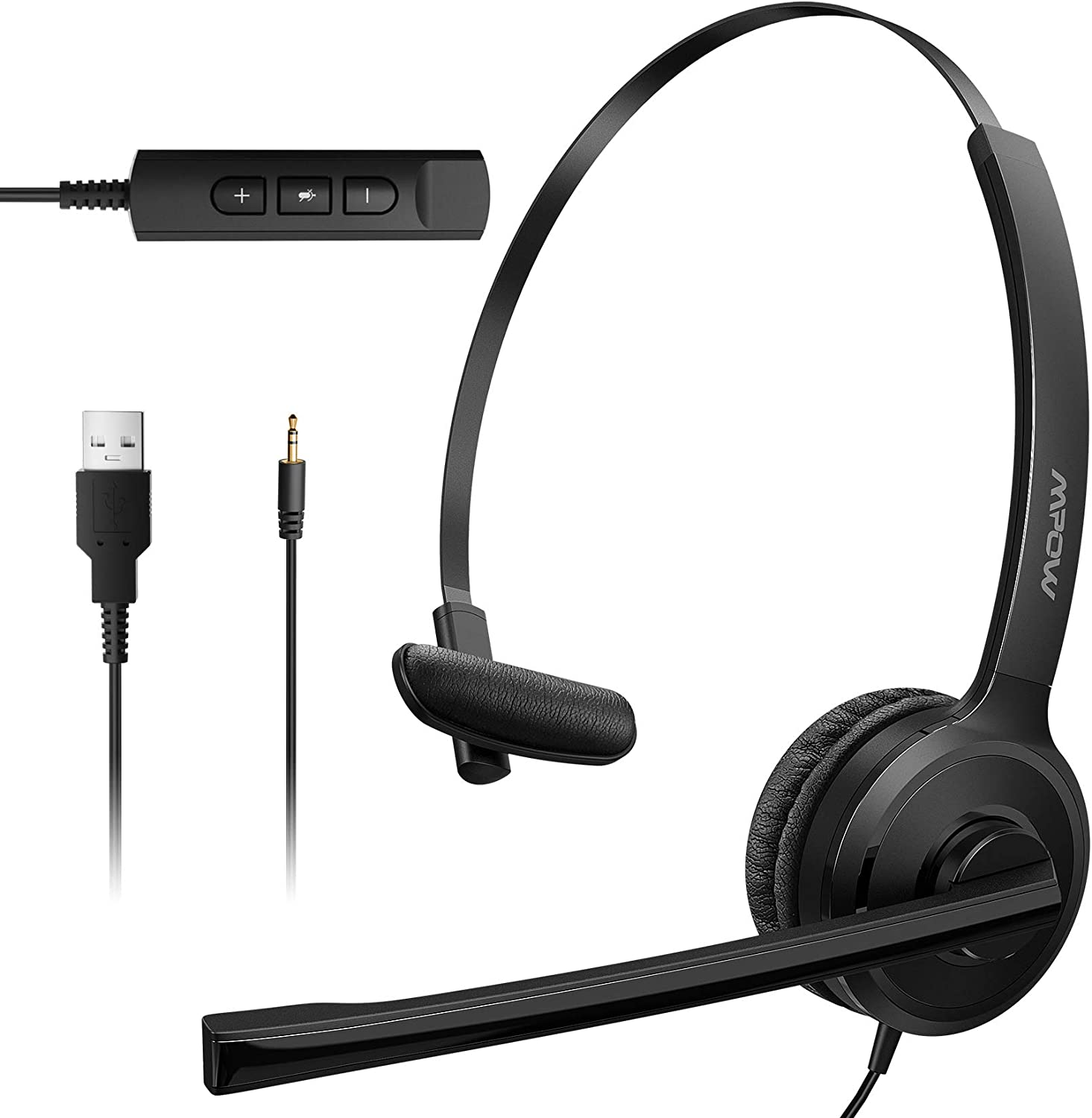Mpow 2.5mm Phone Headsets with Microphone Noise Cancelling, Single-Sided USB Headset with Mute/Volume Control for Computer, Comfort-Fit VOIP Headset for AT&T, Panasonic, Vtech, Uniden, Cisco, Polycom