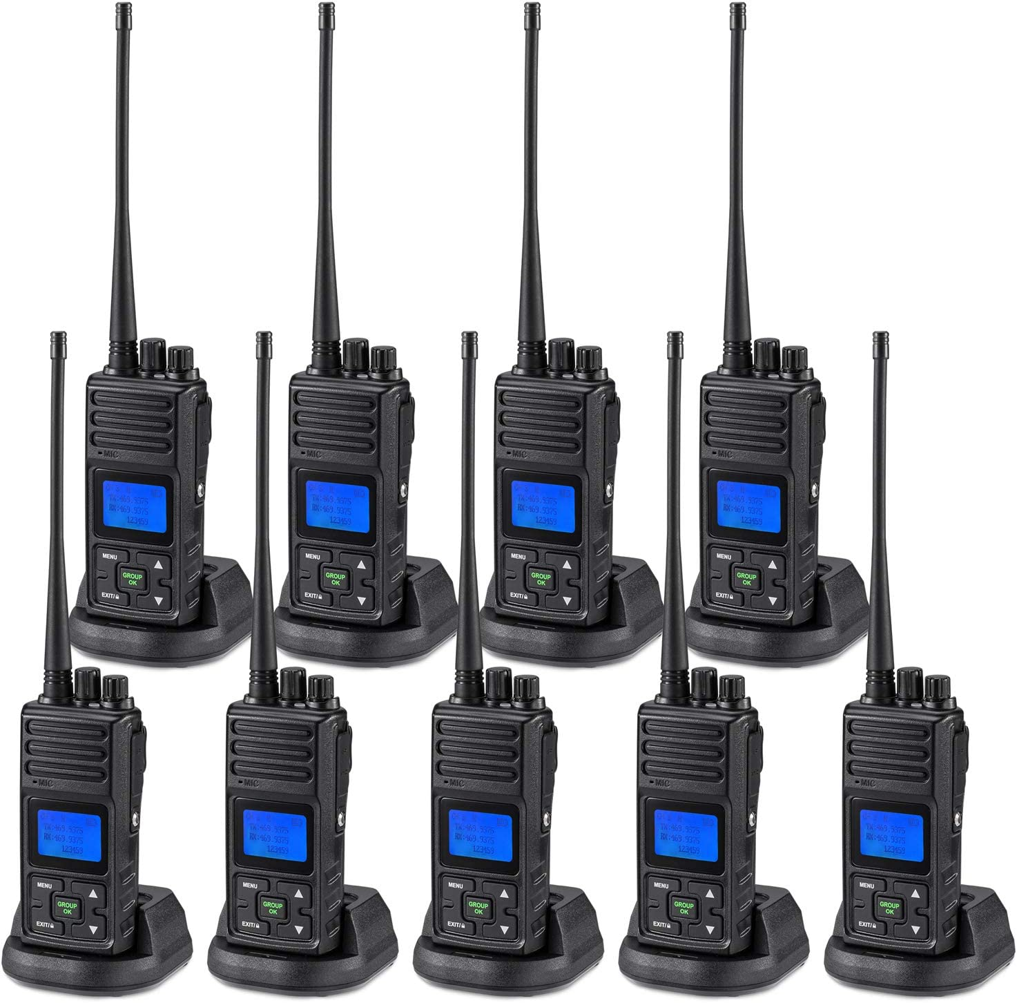 SAMCOM 5 Watts Two Way Radio Long Range Handheld UHF Business Ham Radio for Adult Programmable Walkie Talkie with Rechargeable 1500mAh Battery LCD Display Charging Docks Earpieces (9 Packs)
