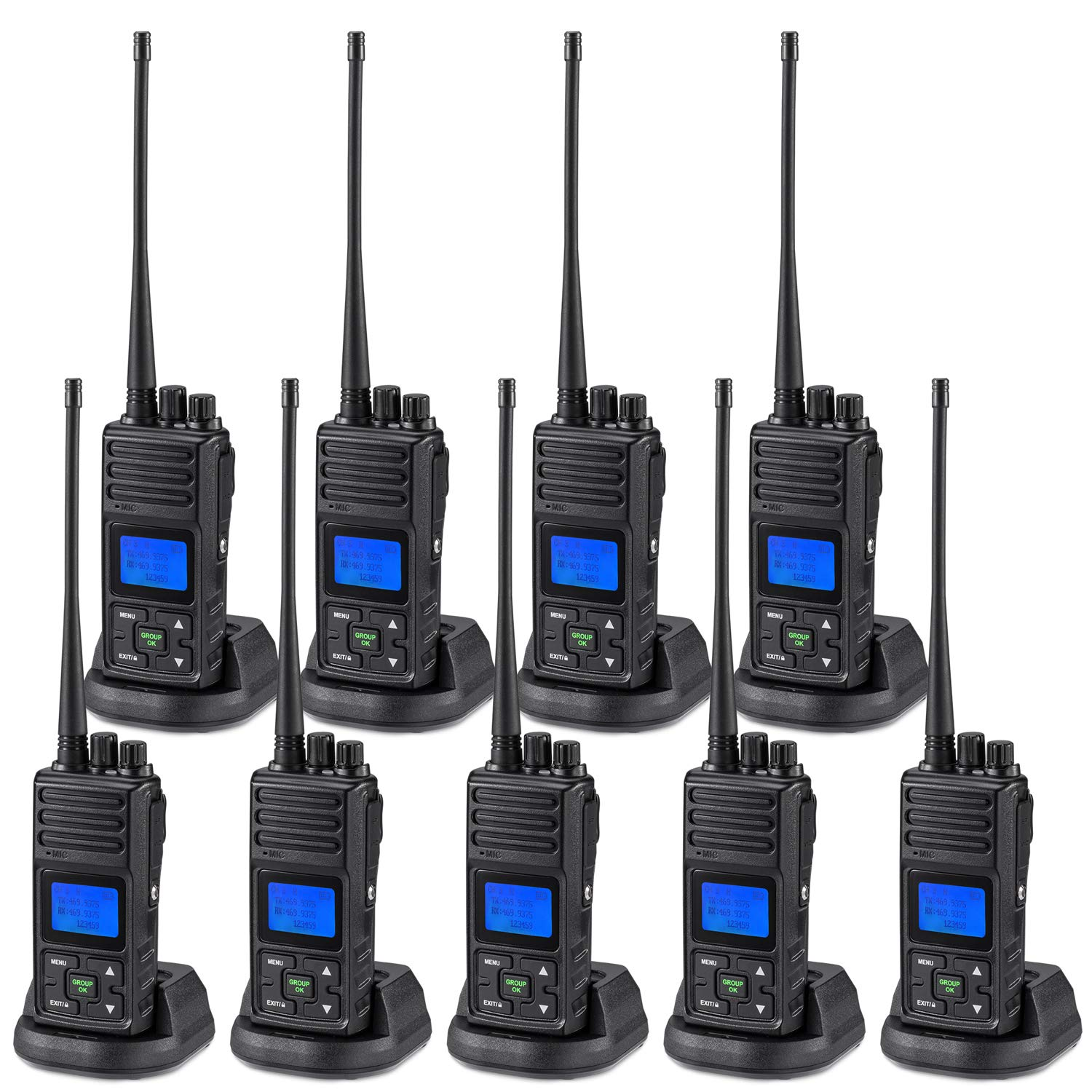 2 Way Radio Long Range, SAMCOM FPCN30A 20 Channel Walkie Talkie Up to 5 Miles, Rechargeable Hand-held Business Radio for Outdoor Hiking Hunting Travel (Pack of 9) by SAMCOM