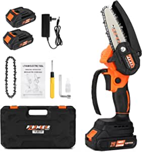 PZOEWUESR Mini Chainsaw Cordless,4 inch Battery Powered Chainsaw,One-Hand Operated Portable Electric Pruning Chain Saw for Garden Tree Trimming Branch Wood Cutting