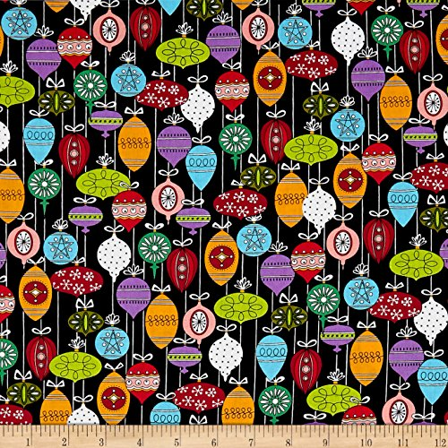 Andover Holiday Tweets Ornaments Black Fabric by The Yard (Cotton Quilt Fabric Holidays)