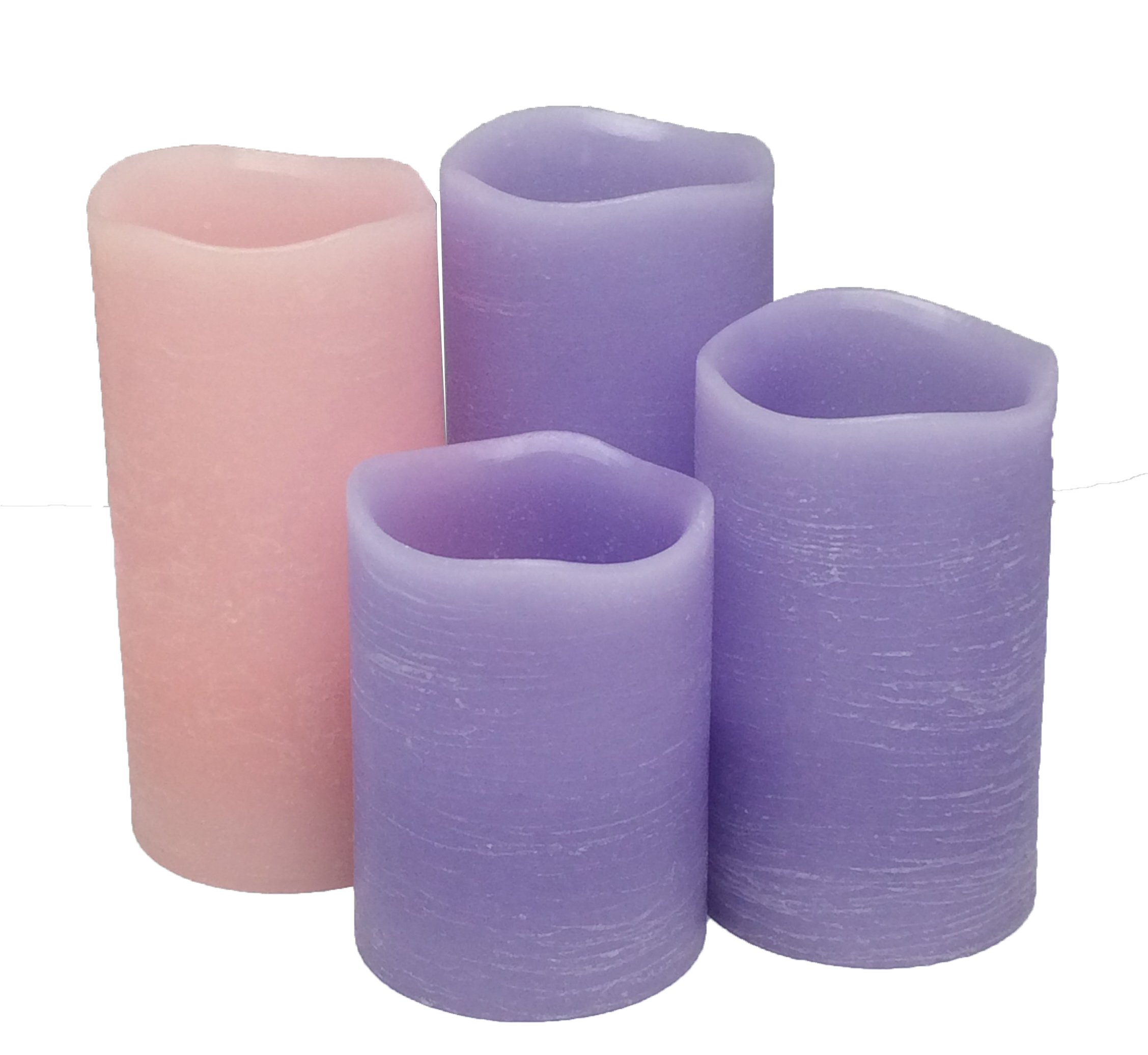 Adoria Advent Led Candles Set of 4-Purple Rustic Wax Handmade 3pcs and Pink 1pc -Unscent with Remote and Timer,Well for Advent Occasion-Home Decor