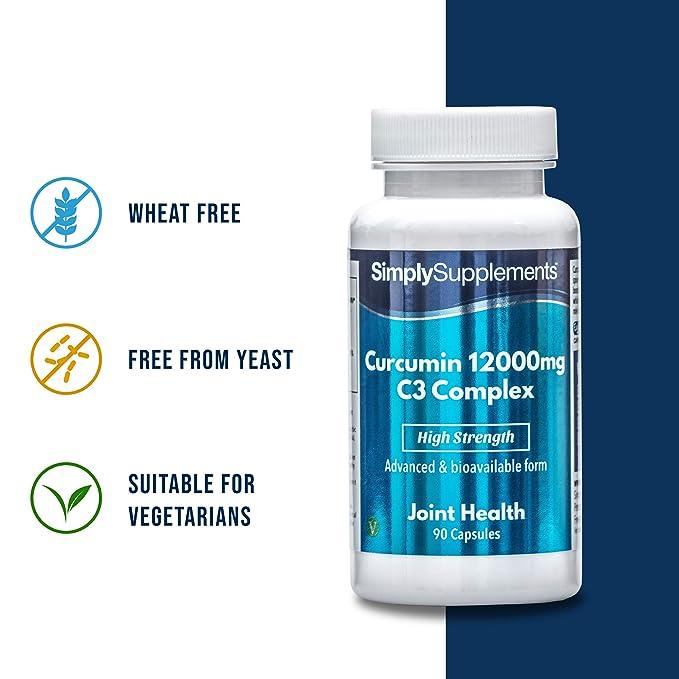 Cúrcuma Complex 12000mg - 90 cápsulas - Hasta 3 meses de suministro - Inflamatorio natural popular para la salud de las articulaciones - SimplySupplements: ...
