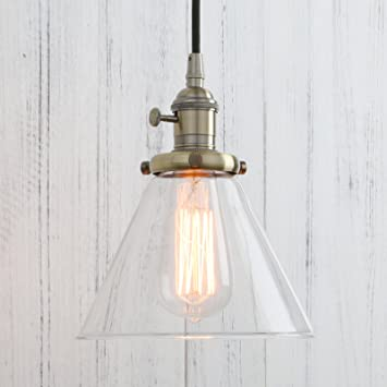 permo industrial vintage pendant light with funnel flared glass clear glass shade 1light ceiling - Clear Glass Pendant Light