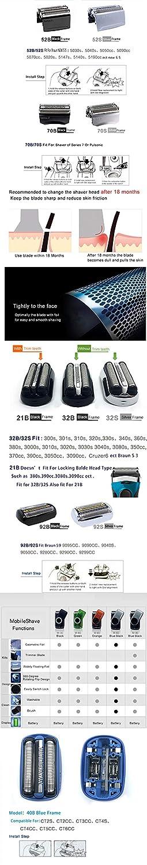 Afeitadora eléctrica y cortador para Braun Series replacement foil ...