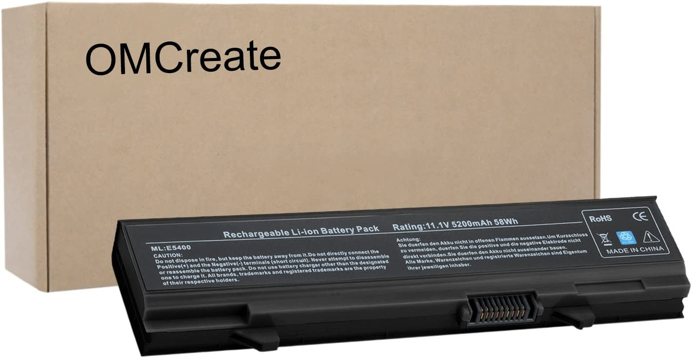 OMCreate Battery Compatible with Dell Latitude E5410 E5500 E5400 E5510 Series, fits P/N KM742 WU841 T749D - 12 Months Warranty [Li-ion 6-Cell]