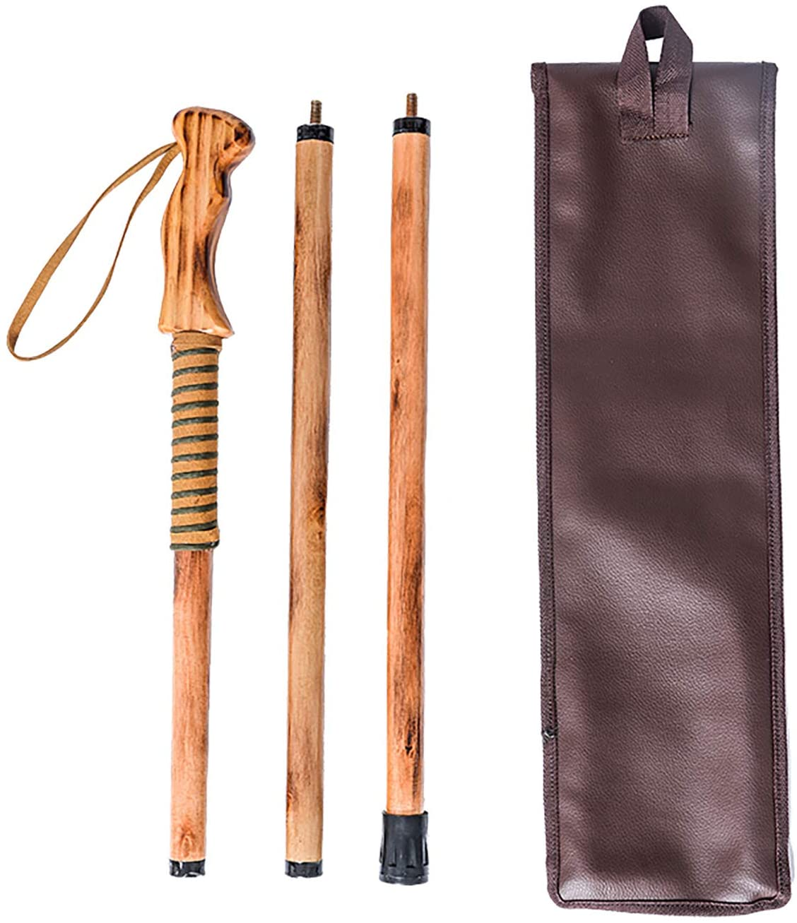 """Walking Hiking Hike Stick Cane Staff 55/"""" Pine Wood with Paracord Wrapped Handle"""