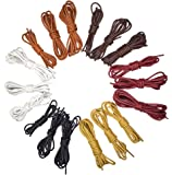 18 Pairs Waxed Shoelaces Round Cotton Boots Dress Shoe Strings 6 Colors 3 Sizes