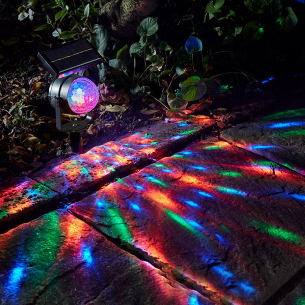DishyKooker Solar-Powered LED Rotating Colourful Projection Lamp Sound Sensor Magic Ball Yard Garden Festival Wedding Decoration