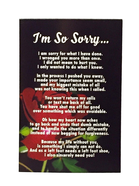 Amazon.com: I\'m Sorry Gift, Unique Apology Love Poem in 4x6 Photo ...